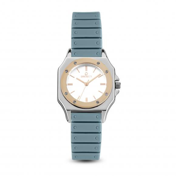 Orologio Ops azzurro con cinturino in silicone e cassa ottagonale con lunetta rosa