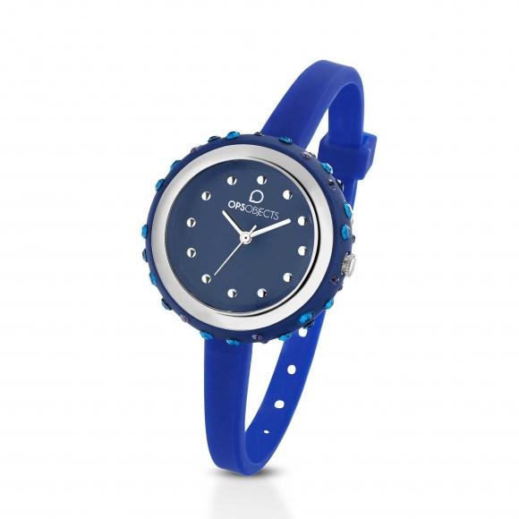 Orologio Ops blu con cinturino in silicone e cassa impreziosita da cristalli