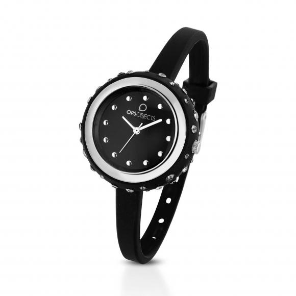 Orologio Ops nero con cinturino in silicone e cassa impreziosita da cristalli