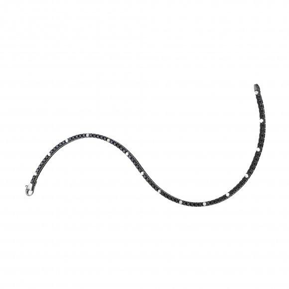 Bracciale Zancan  tennis in argento con zirconi neri e bianchi