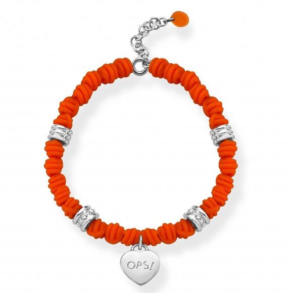 Bracciale Ops con nodi arancione in silicone e cuore pendente