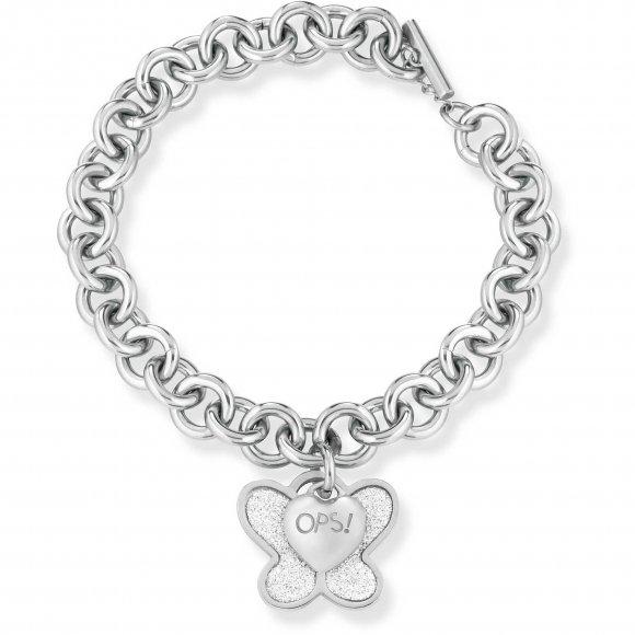 Bracciale Ops in acciaio a catena con ciondolo a farfalla glitter