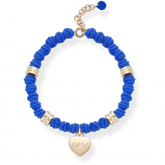 Bracciale Ops con nodi di silicone blu e ciondolo a cuore pendente