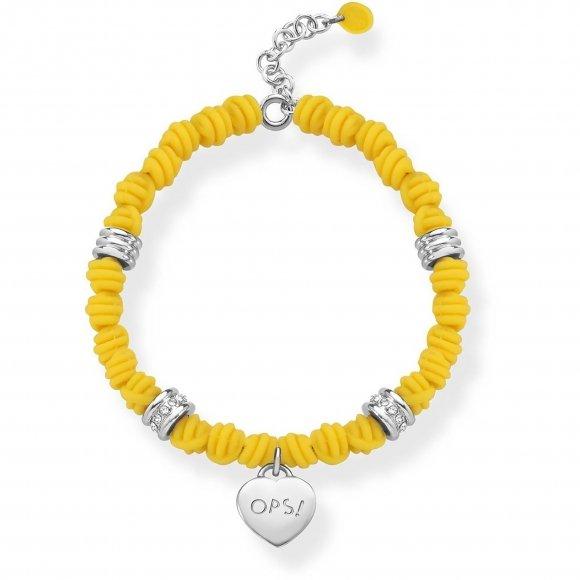 Bracciale Ops con nodi in silicone giallo e ciondolo a cuore pendente