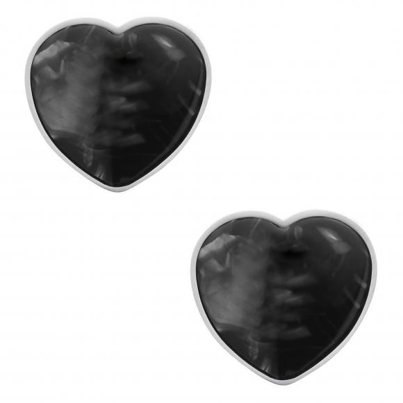 Orecchini Ops a lobo a forma di cuore in ottone e resina marmorizzata