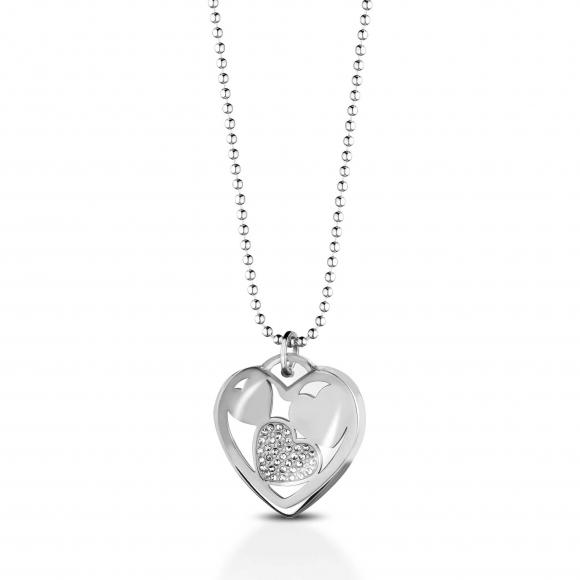 Collana ops in acciaio a sfere con cuore in resina con zirconi interni