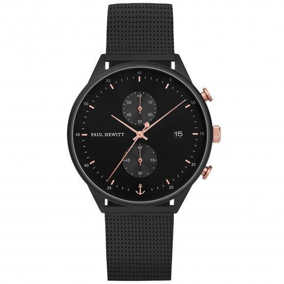 Orologio Paul Hewitt  cronografo nero in maglia milanese