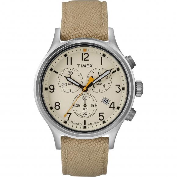 Orologio Timex cronografo con cinturino in pelle e tessuto beige
