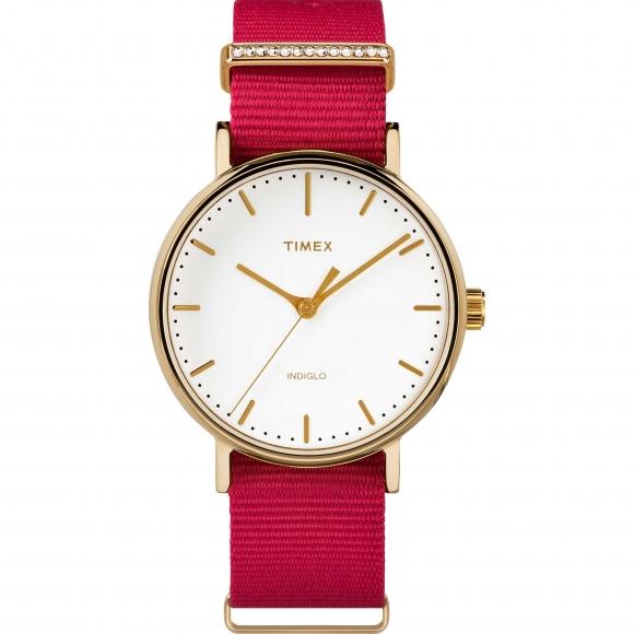Orologio Timex con cassa dorata e cinturino nato rosso
