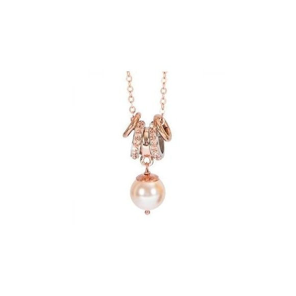 Collana Boccadamo in bronzo con perla rosa cipria pendente