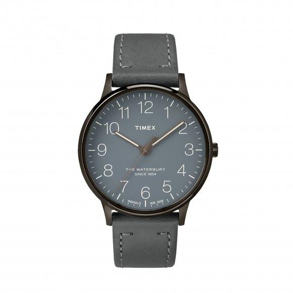 Orologio Timex con cassa in acciaio e cinturino in pelle grigio