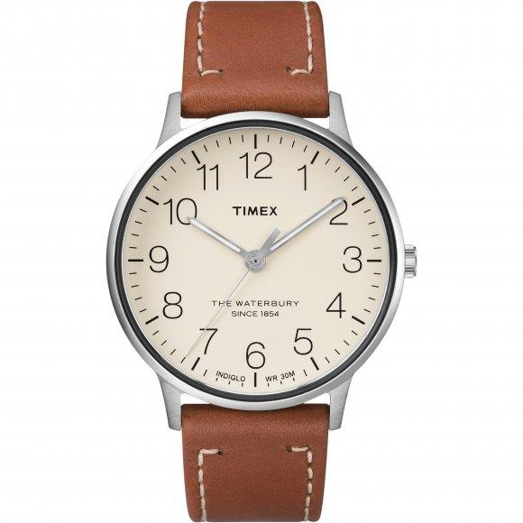 Orologio Timex con cassa in acciaio e cinturino in pelle marrone