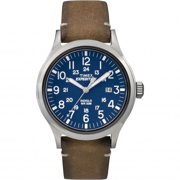 Orologio Timex con cassa in acciaio e cinturino in pelle effetto camoscio