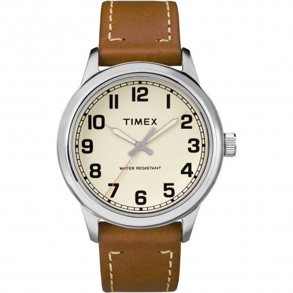Orologio Timex con cassa in acciaio e cinturino in pelle marrone chiaro