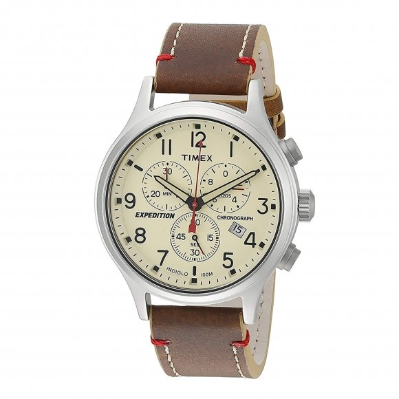 Orologio Timex cronografo con cinturino in pelle effetto vintage