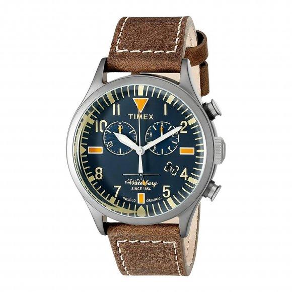Orologio Timex con cassa blu e cinturino marrone effetto vintage