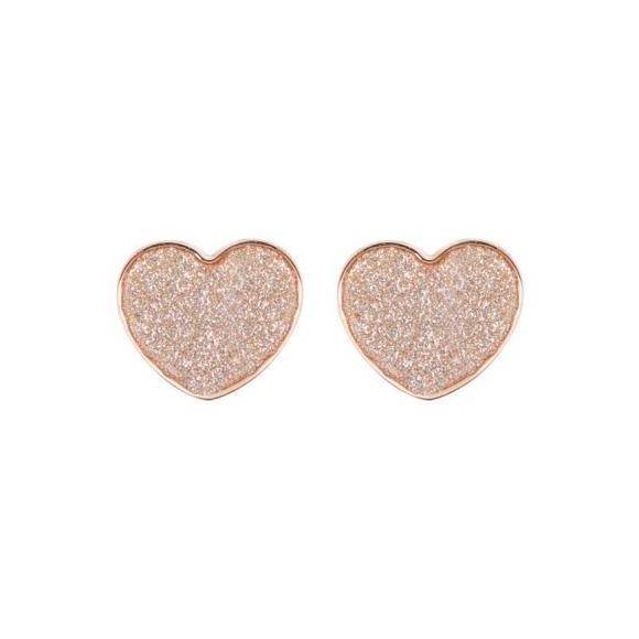 Orecchini Boccadamo in bronzo a cuore con glitter