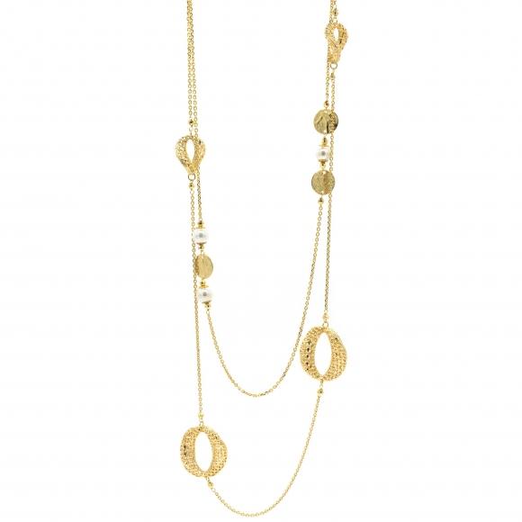 Collana Lorenzo Ungari in bronzo dorato con perle e dettagli ricamati