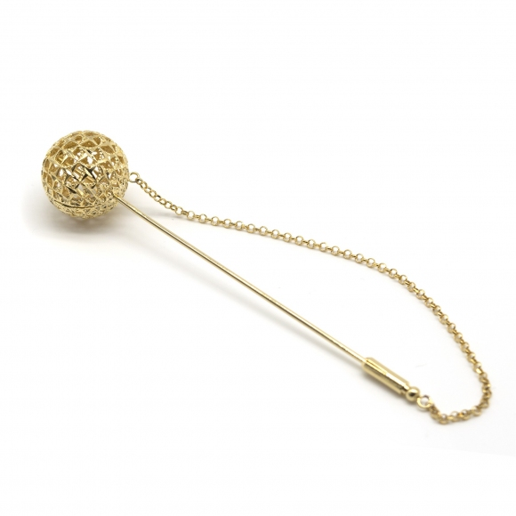 Spilla Lorenzo Ungari dorato con stecca rigida e sfera 16mm