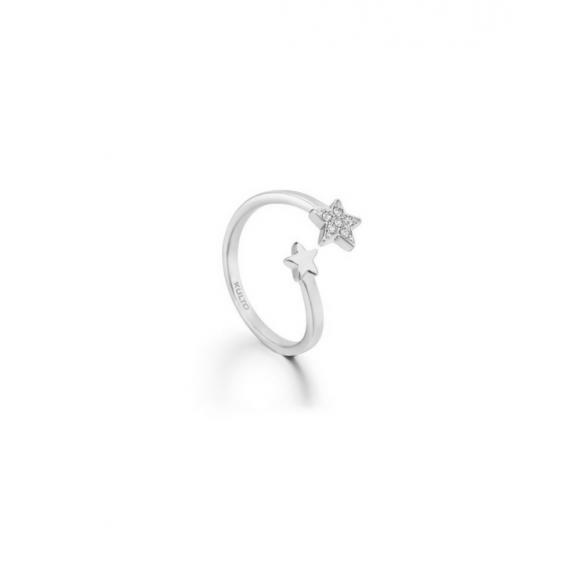 Anello Kulto contrariè in acciaio con stella in zirconi