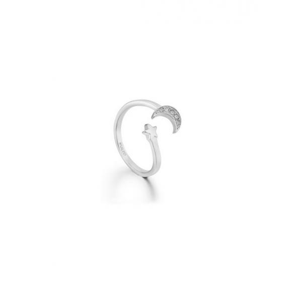 Anello Kulto contrariè in acciaio con luna in zirconi