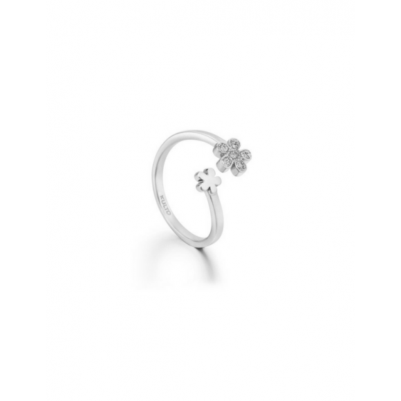 Anello Kulto contrariè in acciaio con fiore in zirconi