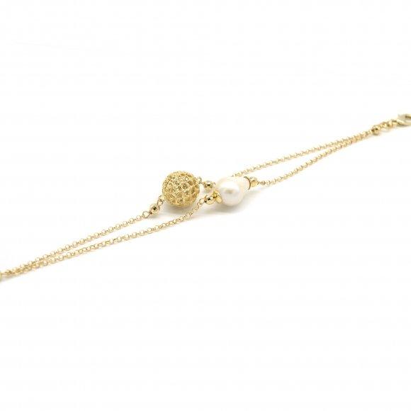 Bracciale Lorenzo Ungari a doppio catena con sfera ricamata e perla naturale