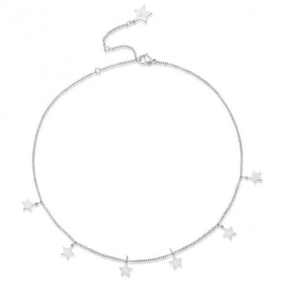 Collana Luca Barra in acciaio a girocollo con sei stelline