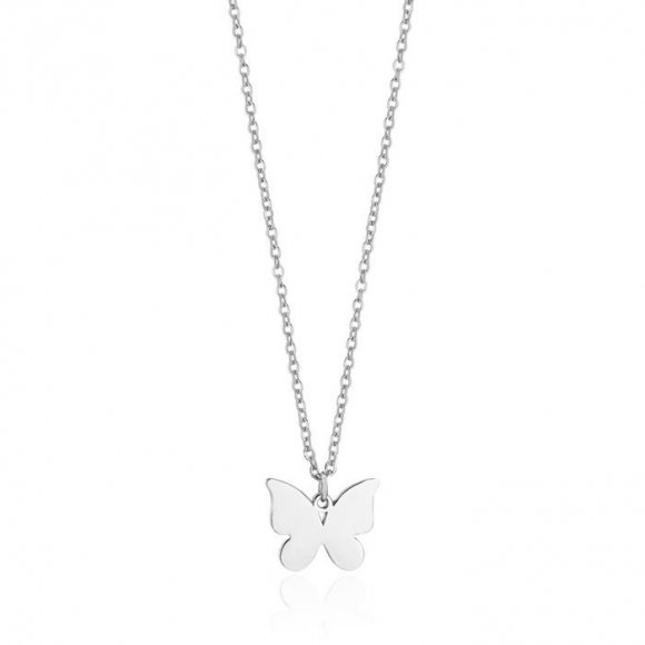 Collana Luca Barra in acciaio con ciondolo a farfalla