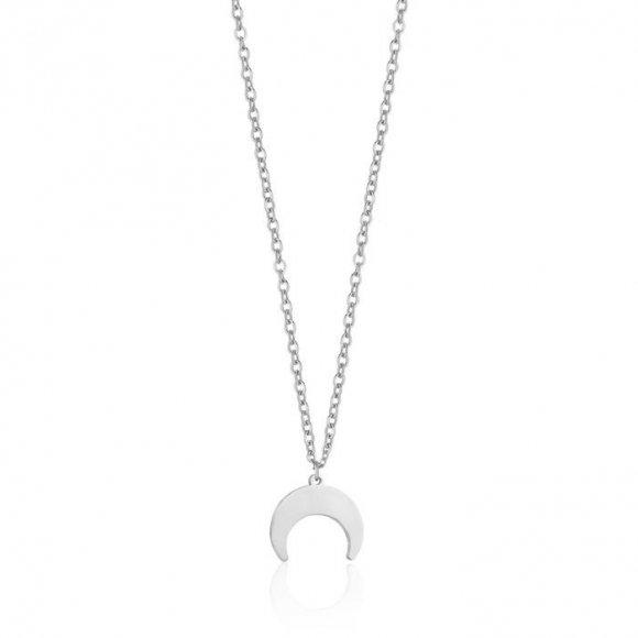 Collana Luca Barra in acciaio con ciondolo a forma di luna