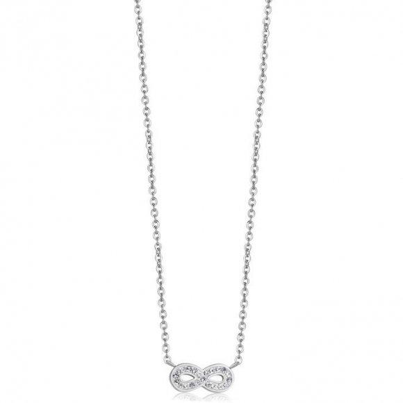 Collana Luca Barra in acciaio con simbolo a forma di infinito con zirconi