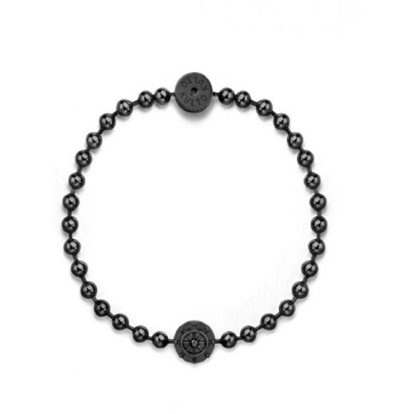 Bracciale Kulto in acciaio nero a sfere con timone in rilievo