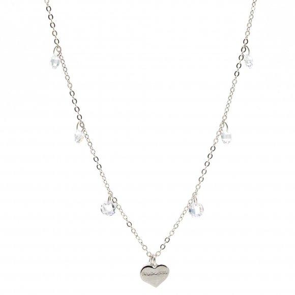 Collana Rebecca lunga in argento con cristalli bianchi