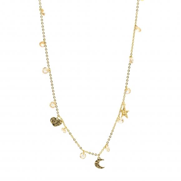 Collana Rebecca girocollo in argento dorato con cuori e stelle