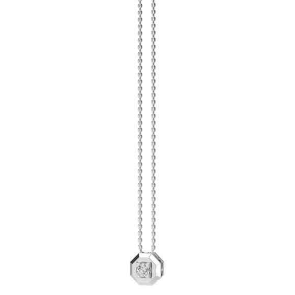 Collana uomo Zancan in oro bianco con ciondolo ottagonale con diamante