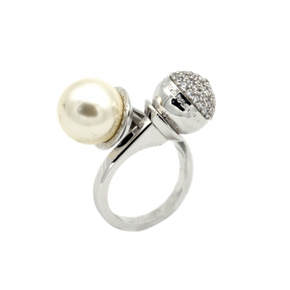 Anello Rebecca Contrariè con zirconi e perla