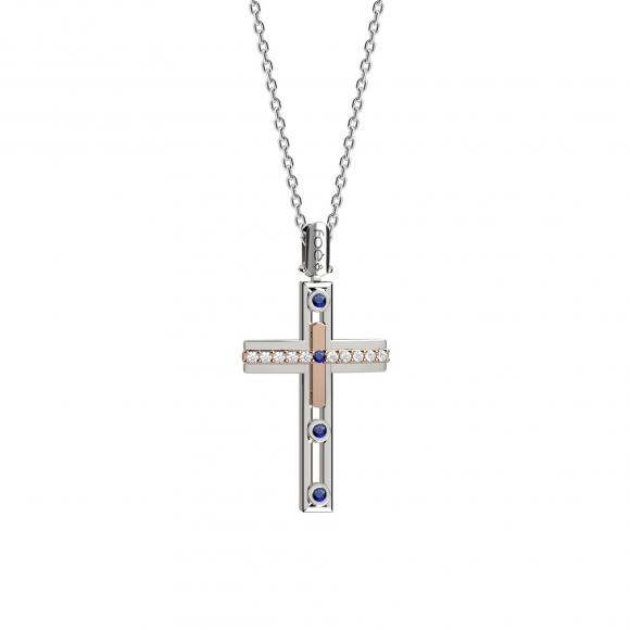 Croce uomo foè bicolore con diamanti bianchi e zaffiri blu