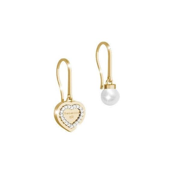 Orecchini Rebecca a monachella dorata con cuore e perla