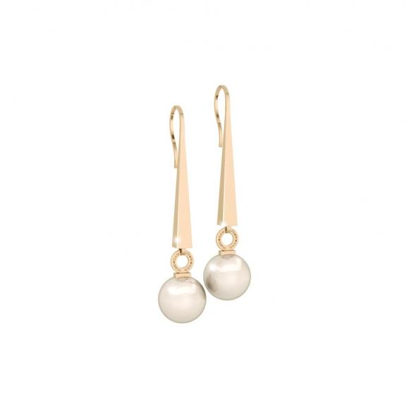 Orecchini Rebecca pendenti dorati con perla bianca finale