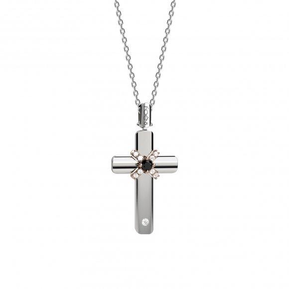 Croce uomo foè in oro bianco con diamante nero e bianchi