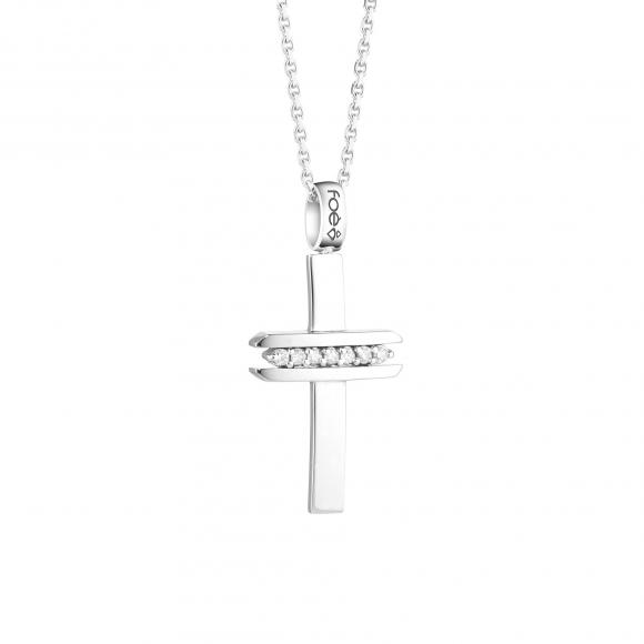Croce uomo foè in oro bianco con diamanti bianchi