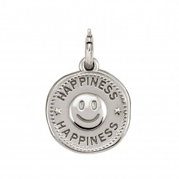 Charm Nomination in argento 925 con smile ''Happiness''