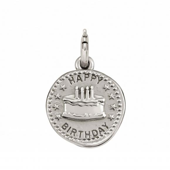 Charm Nomination in argento 925 ''Happy Birthday'' con torta in rilievo
