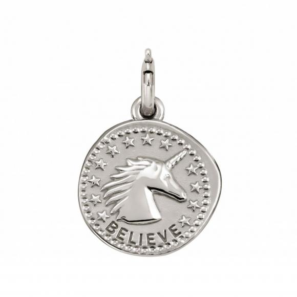 Charm Nomination in argento 925 ''Believe'' con unicorno