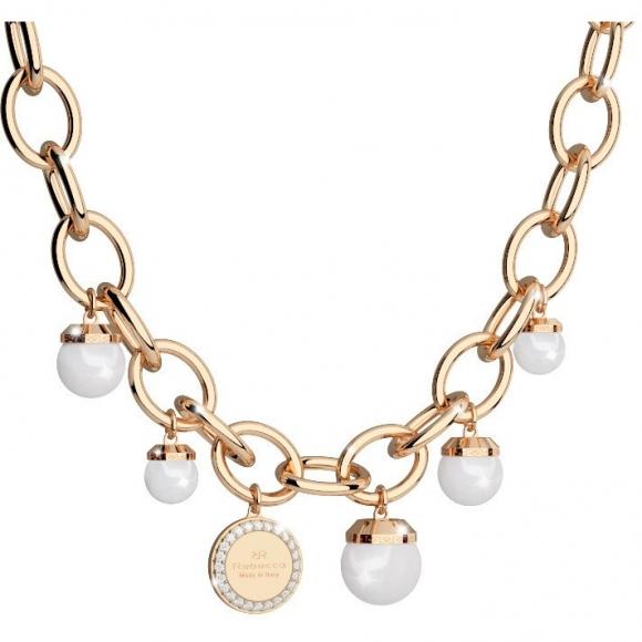 Collana Rebecca lunga dorata con perle di varie dimensioni