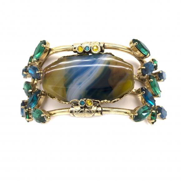 Bracciale Claudio Canzian con cristalli colorati e agata