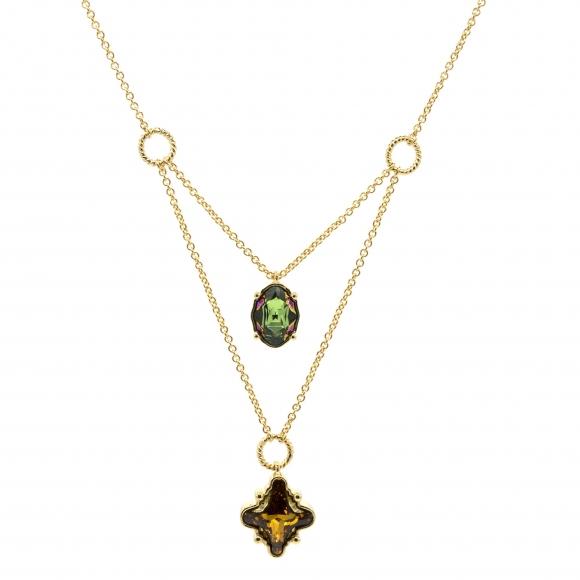 Collana Rebecca doppia dorata con pietra verde e ambra