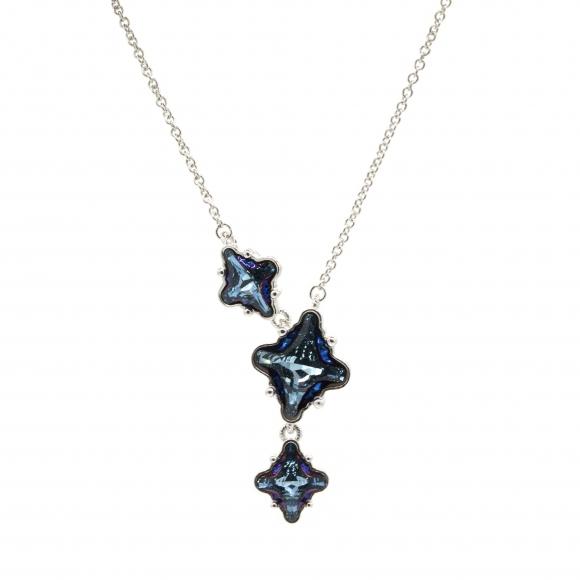 Collana Rebecca in argento con pietre a rombo blu