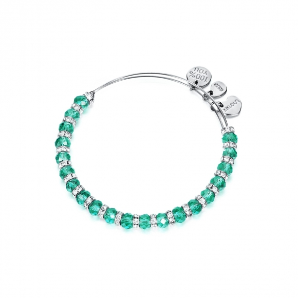 Bracciale Kulto con cristalli sfaccettati verde smeraldo