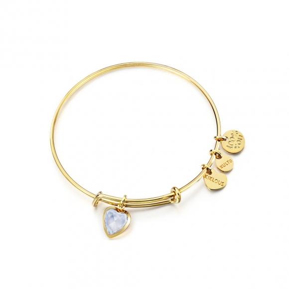 Bracciale Kulto in acciaio rigido dorato con ciondolo cristallo a cuore